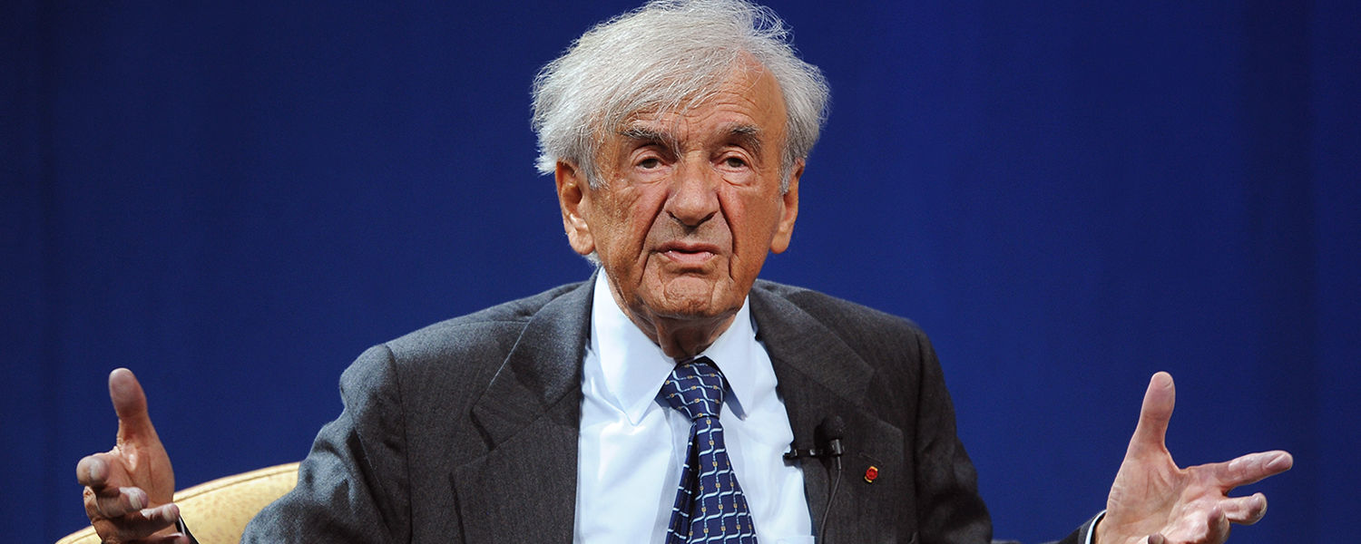 Nobel Peace Prize winner and Boston University Professor Elie Wiesel speaks at the second Kent State University Presidential Speaker Series on Thursday, April 11, in the Memorial Athletic and Convocation Center.