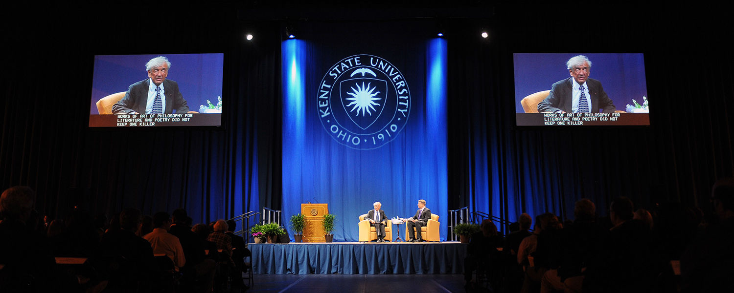 Nobel Peace Prize winner Elie Wiesel addressed a sold-out crowd of 5,100 people in the Memorial Athletic and Convocation Center.