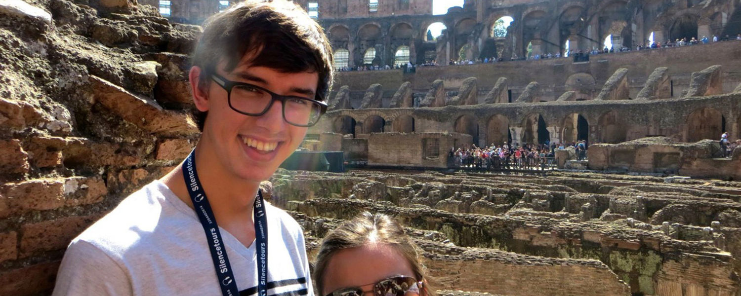 Kent State student Andrew Wyatt and a fellow student visit Rome during their study abroad experience in Italy.