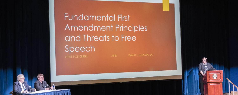 Mindy Farmer, director of the May 4 Visitor Center, introduced First Amendment scholars Gene Policinski (left) and David L. Hudson, Jr.