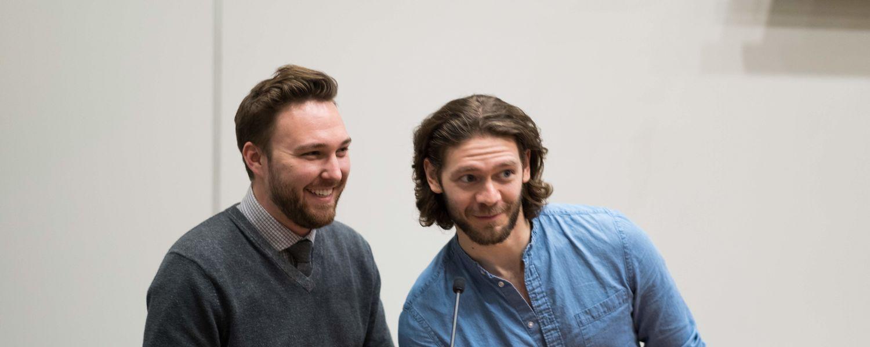 CCI alumni Tyler Pina and Matthew Weitz participate in a symposium regarding their new film, 88 Cents