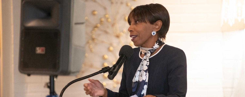 Vice President Alfreda Brown speaks.