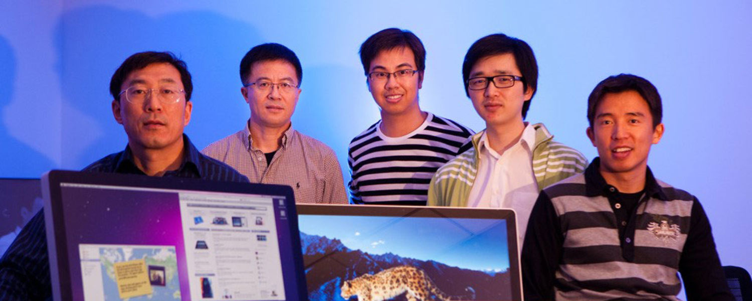 Several Kent State graduates who studied at the Liquid Crystal Institute are part of the display team at Apple Inc. Pictured (left to right) are William Liu, Ph.D.; Ming Xu, Ph.D.; Vincent Gu, Ph.D.; Cheng Chen, Ph.D.; and Mike Dorjgotov, Ph.D.