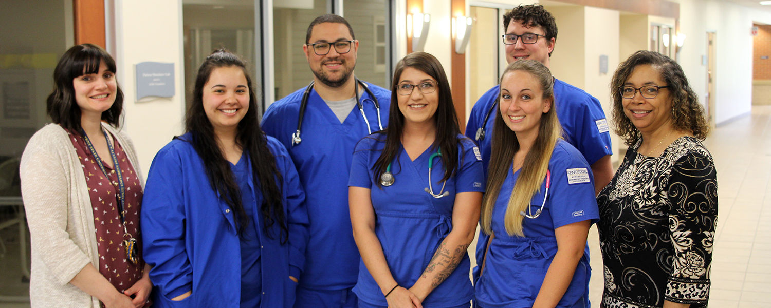 Ashtabula Respiratory Therapy Seniors pose with program director, Yvonne George and faculty member Megan Alicea