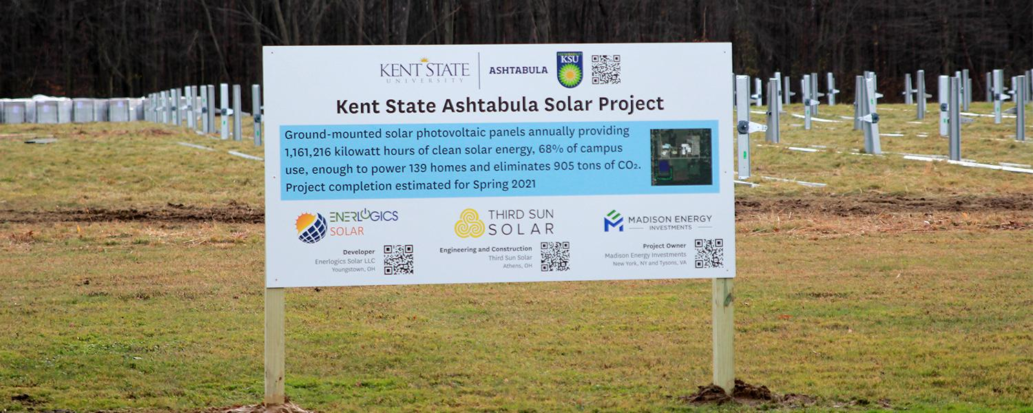 Signage at the Kent State Ashtabula Solar Project Site