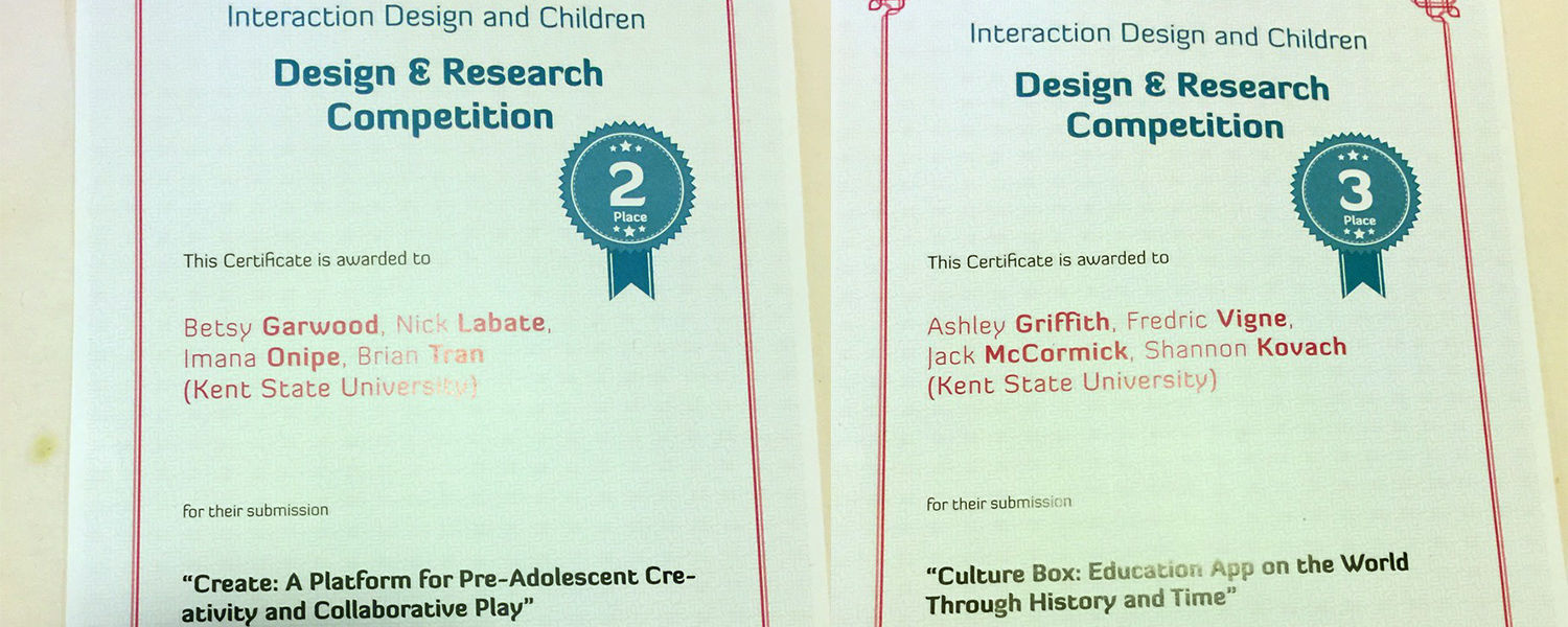 VCD student teams were awarded certificates for 2nd and 3rd place