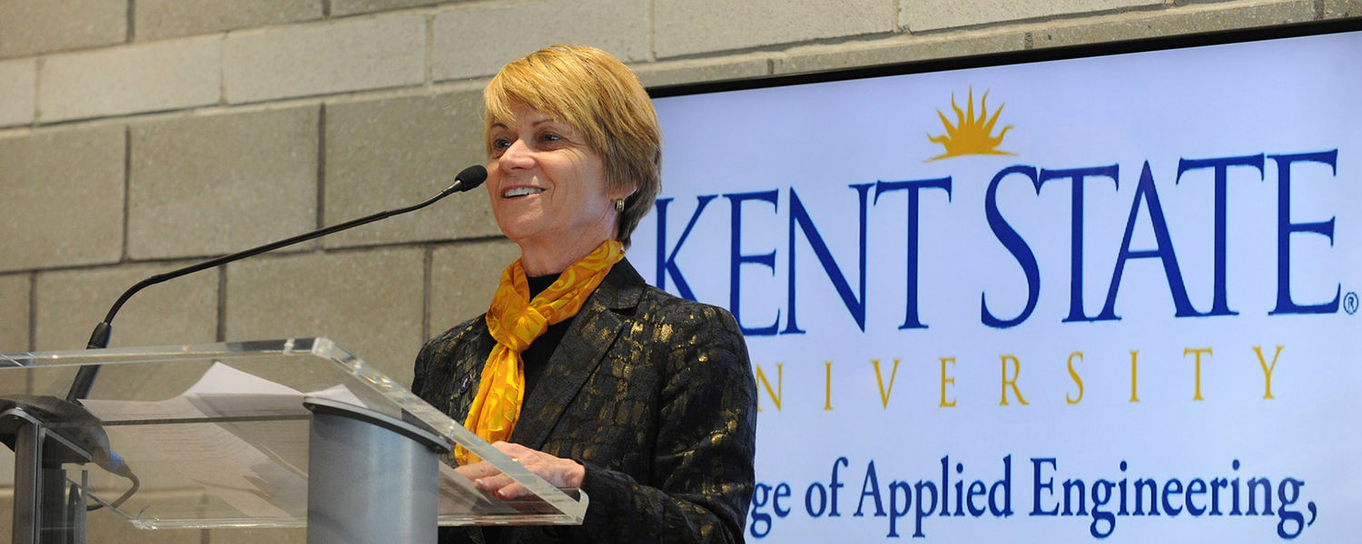 Kent State President Beverly Warren speaks during the grand opening celebration for the new Aeronautics and Technology Building.