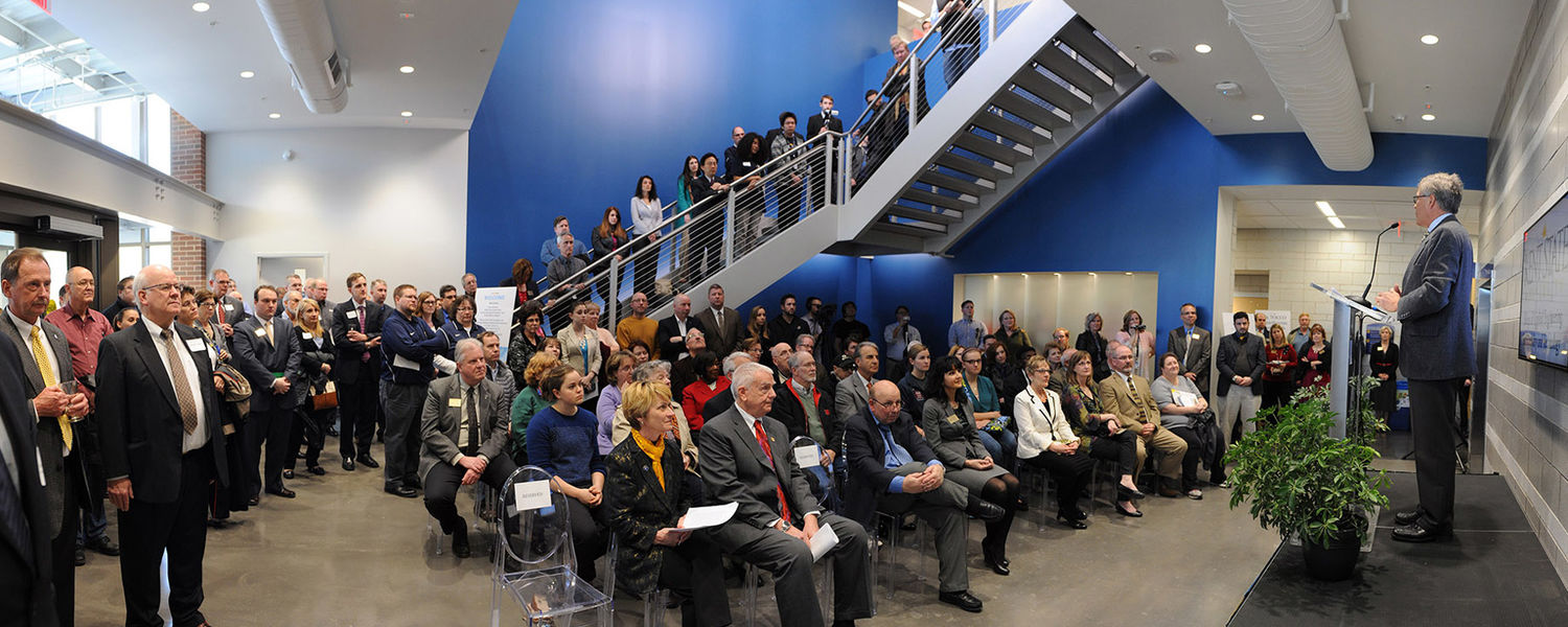 Dennis Eckart, chair of the Kent State Board of Trustees, speaks during the grand opening of the new Aeronautics and Technology Building.