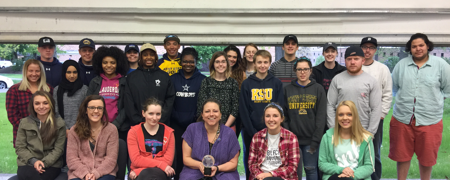 A class of communication studies students earned top prize in the Outstanding New Service Initiative category at the Kent State University's Office of Experimental Education and Civic Engagement (OEECE) annual awards program.