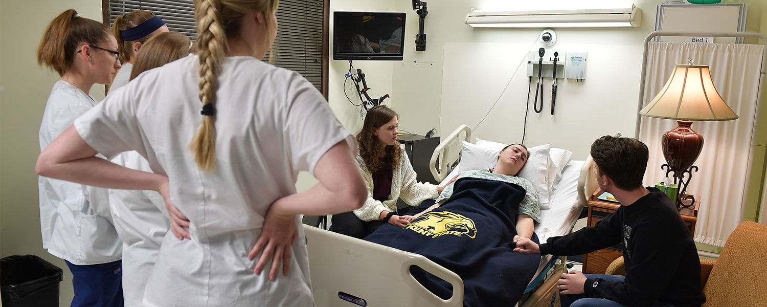 Theater students use improvisation to drive the simulation forward and create a realistic scenario for nursing students to experience.