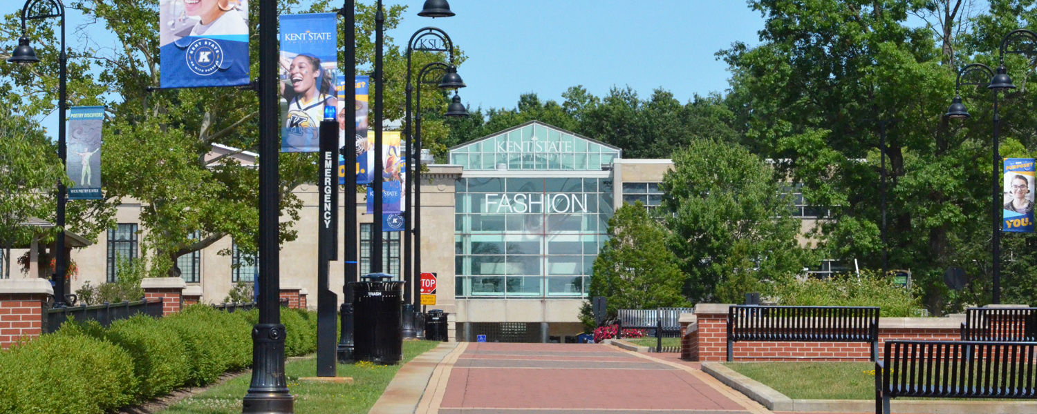 Outside view of Kent State School of Fashion from esplanade.