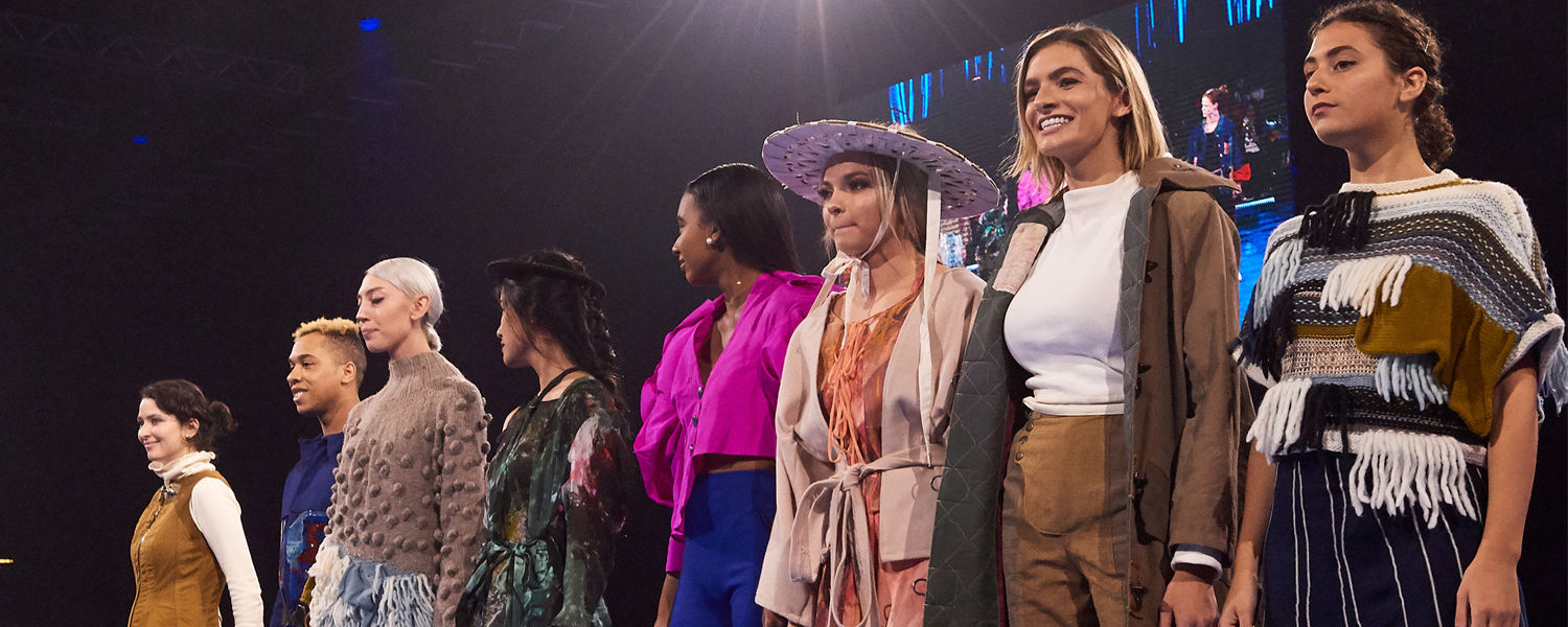 Students modeling in the 2019 Pro Football Hall of Fame Luncheon Fashion Show in Canton.