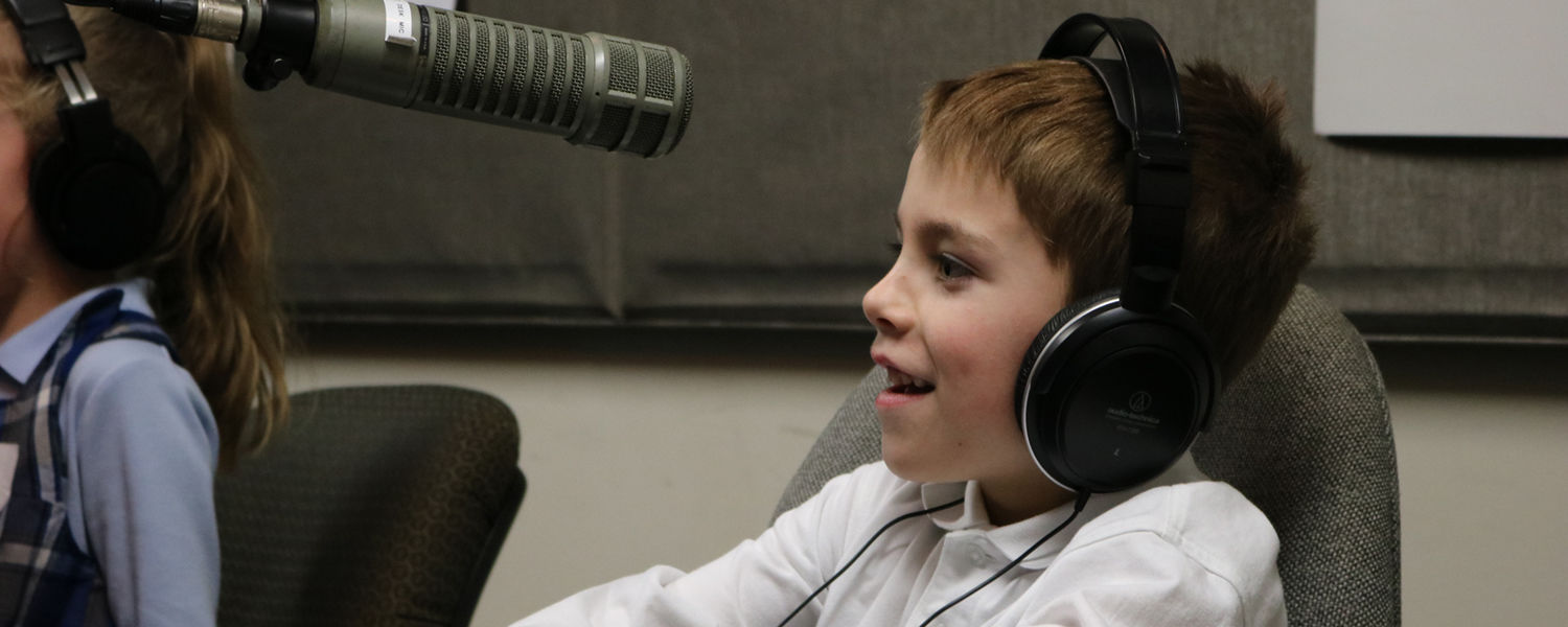 St. Barnabas first grader tries out Black Squirrel Radio