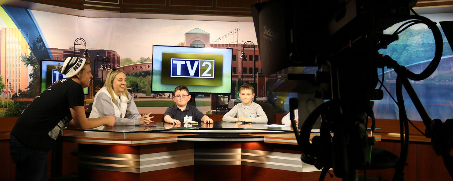 St. Barnabas first graders on the set of TV2