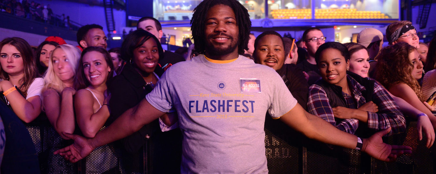 Kent State students enjoy themselves at FlashFest 2015 in the Memorial Athletic and Convocation (MAC) Center.