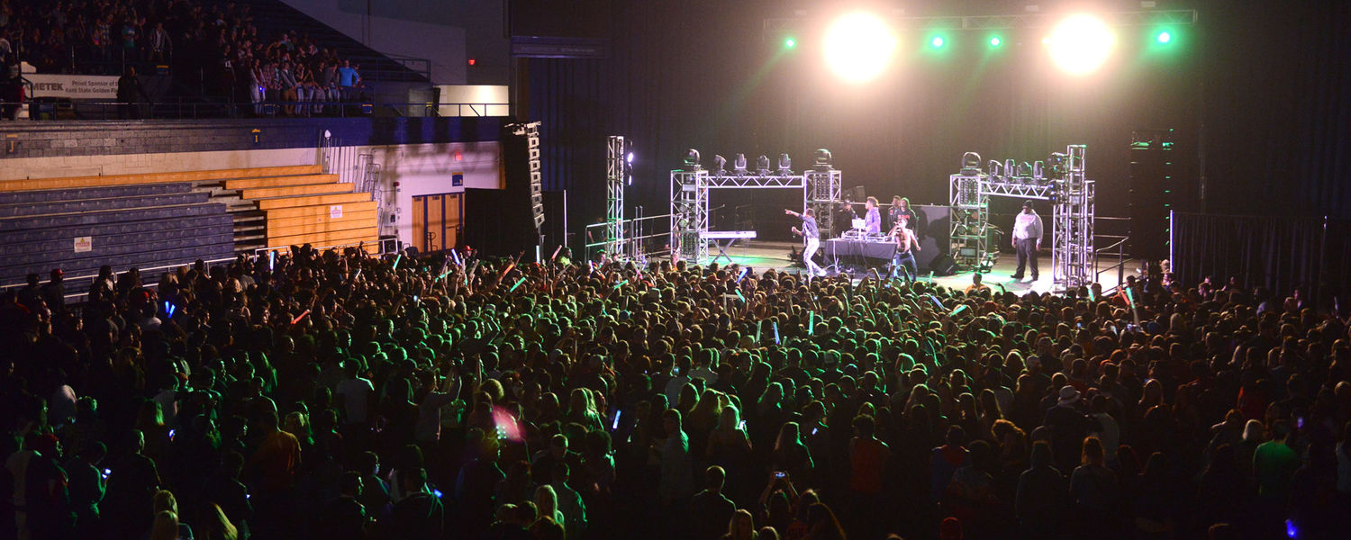 Kent State students pack the Memorial Athletic and Convocation Center and watch Rae Sremmurd perform on stage during this year's FlashFest.