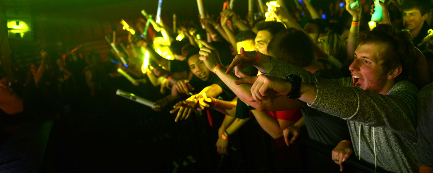 Kent State students cheer and dance during this year's FlashFest that featured hip-hop duo Rae Sremmurd, R&B artist Jeremih and disc jockey duo the Chainsmokers.
