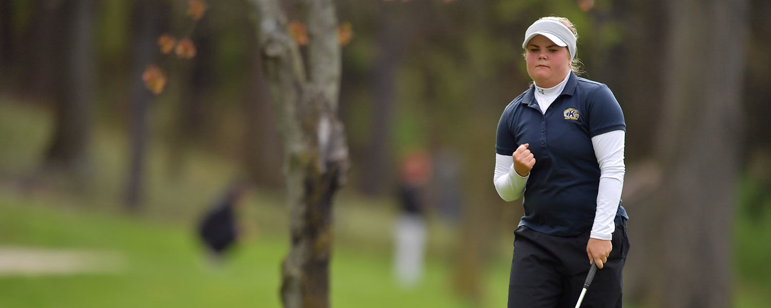 Kent State sophomore Michaela Finn, who wins the individual tournament championship at the 2017 MAC Women's Golf Championship, celebrates after sinking a putt.