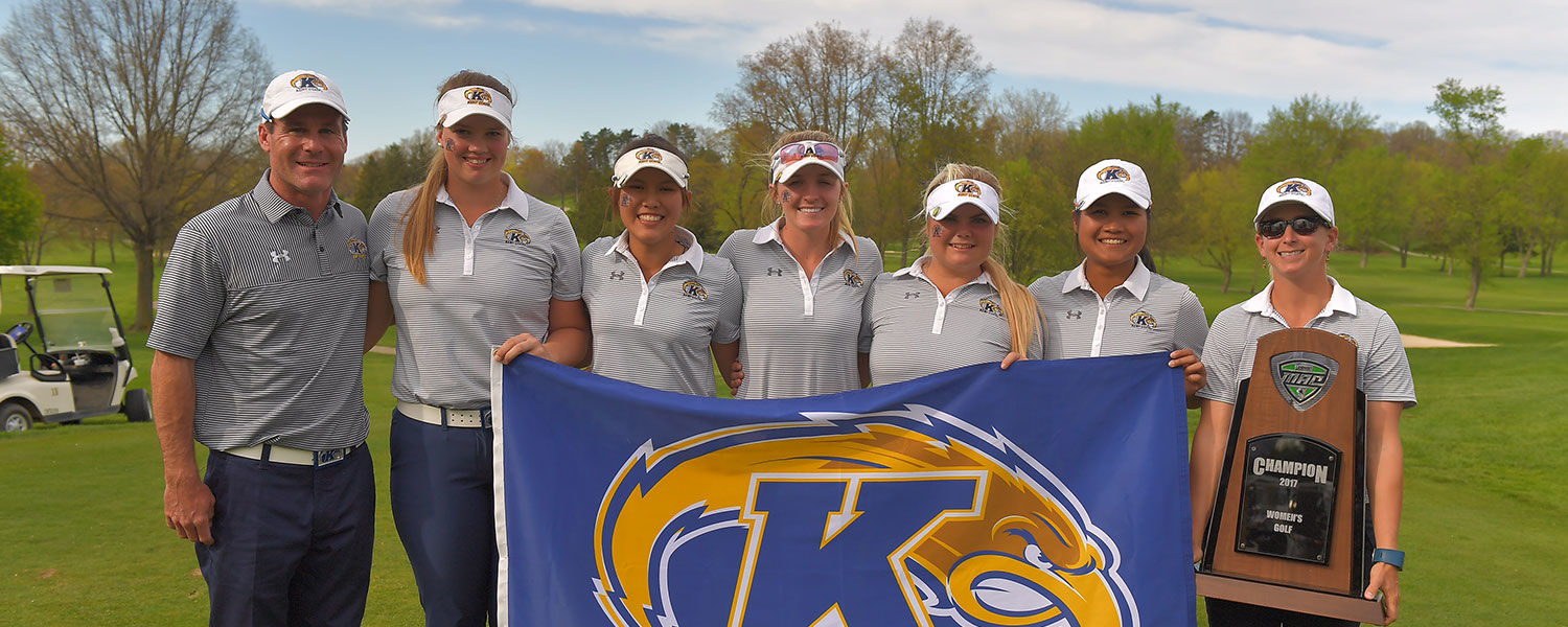 The Kent State women's golf team smiles after winning its 19th straight MAC Women's Golf Championship. The team has advanced to the NCAA Championship for the first time since 2010.