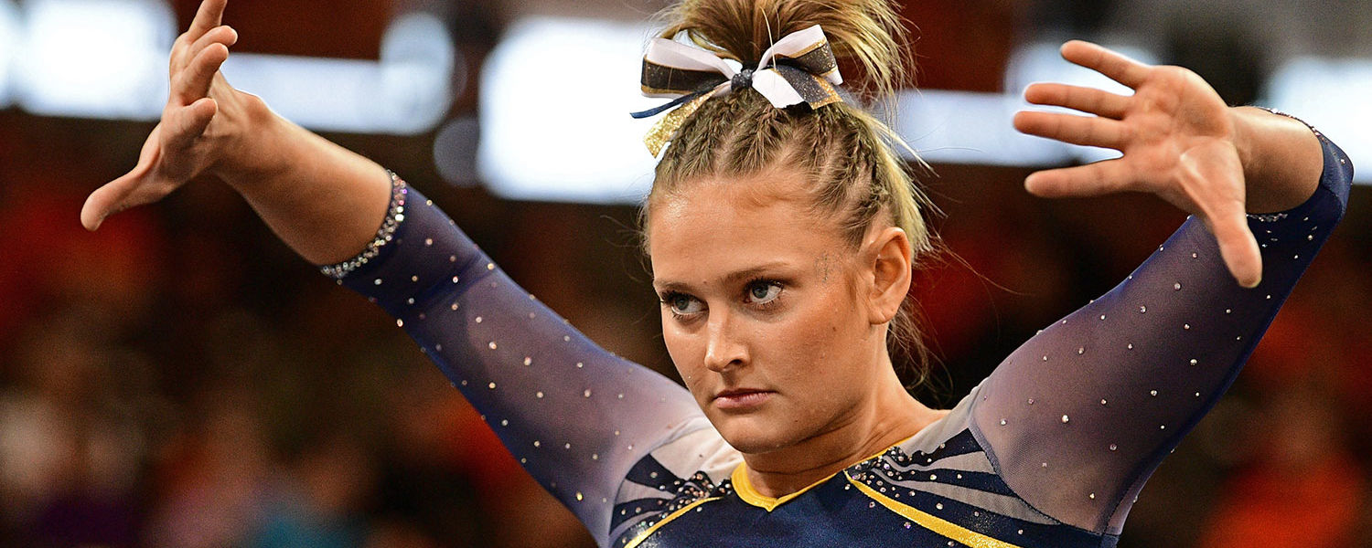 Kent State gymnast Rachel Stypinski focuses as she performs her floor routine at the 2017 Mid-American Conference Gymnastics Championships. (Photo credit: David Dermer)