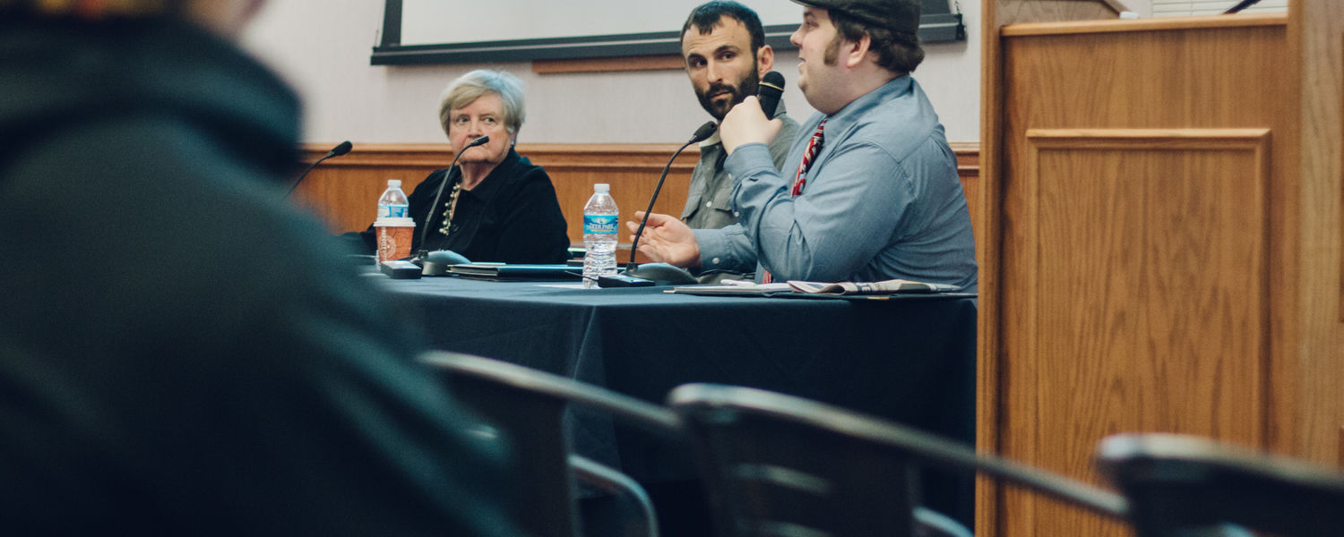 image of panelists from human trafficking discussion