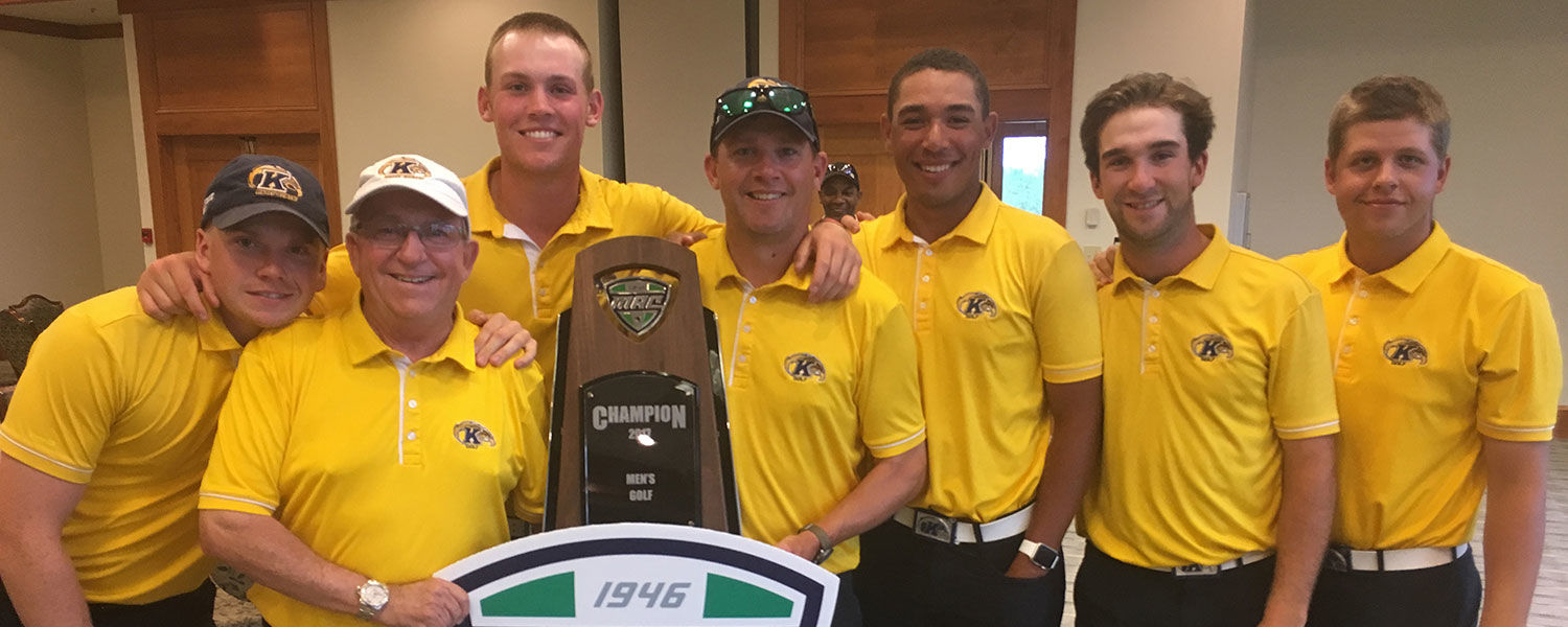 The Kent State University men's golf team poses for a group picture after winning its 24th Mid-American Conference (MAC) Championship. The team placed second at Regionals and now advances to the NCAA Championship.
