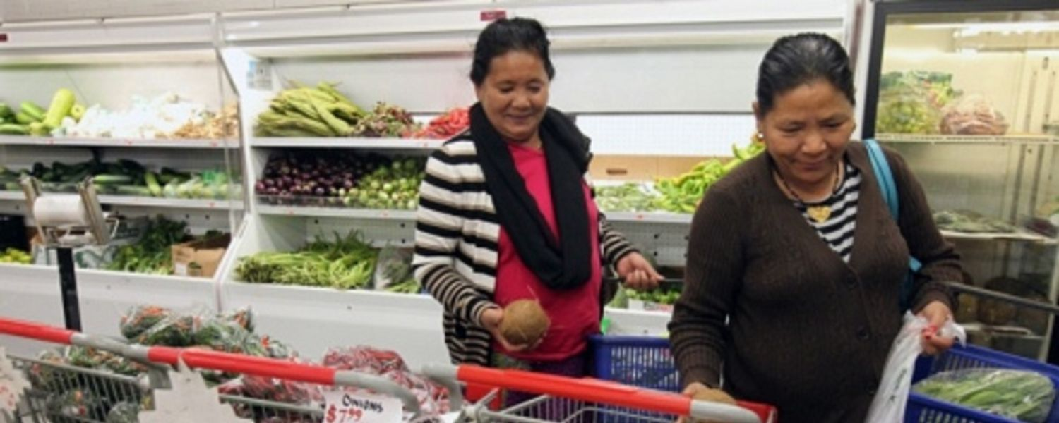 immigrant women grocery shopping