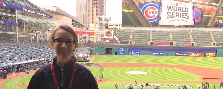 Jullianne Peters at Progressive Field wearing her World Series shirt