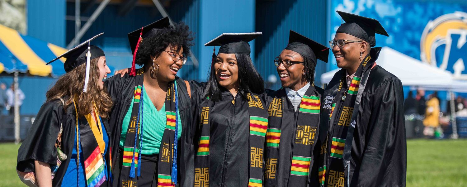 Kent State's newest graduates celebrate during the One University Commencement held at Dix Stadium.