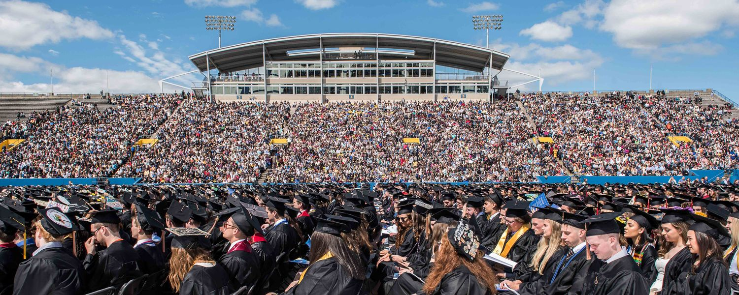 Kent State held its One University Commencement at Dix Stadium. In total, Kent State conferred 5,307 degrees.
