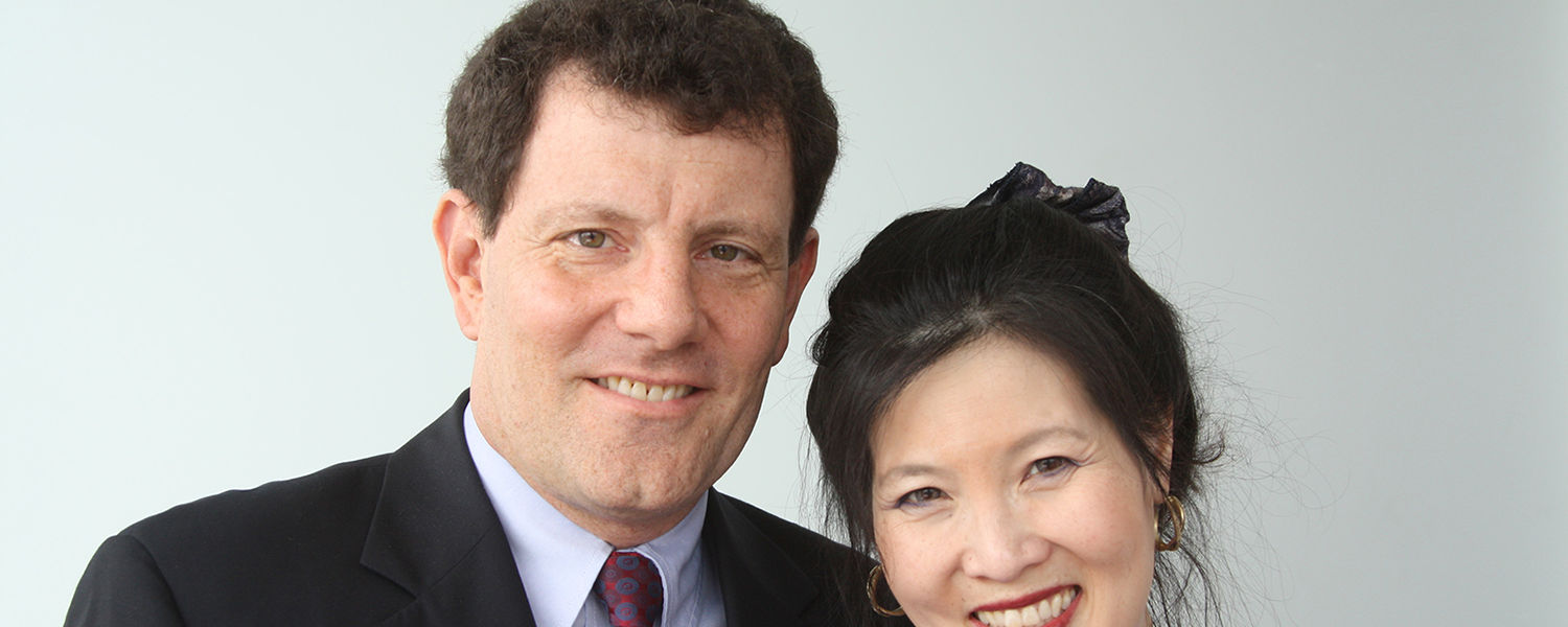 Pulitzer Prize-winning journalists and human rights advocates Nicholas Kristof and Sheryl WuDunn speak  at Kent State University on Nov. 14 as part of the Kent State University Presidential Speaker Series.