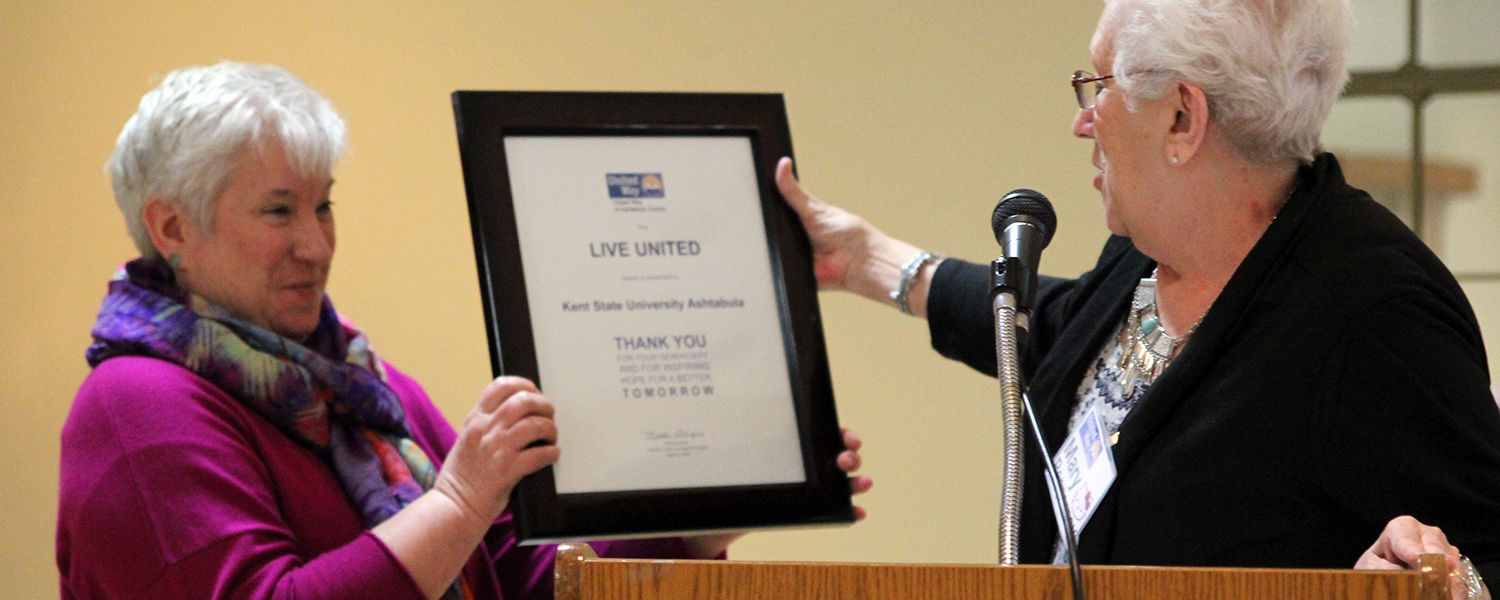 Dean Susan Stocker receives the Live United Award from United Way of Ashtabula County board member Mary Pepperney