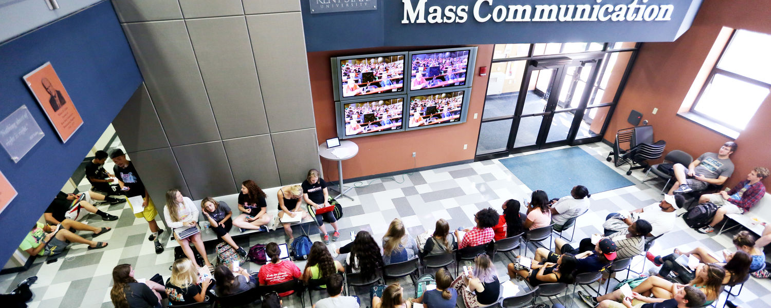 Maxed out auditorium seating pushed attendees to overflow spaces throughout Franklin Hall during the Poynter Kent State Media Ethics Workshop.