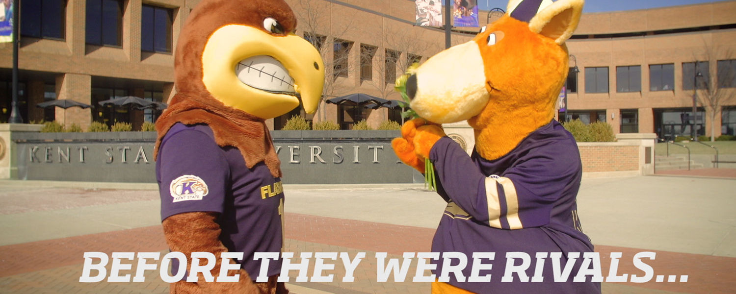 Mascots Flash and Zippy hang out together on Risman Plaza before their rivalry began.