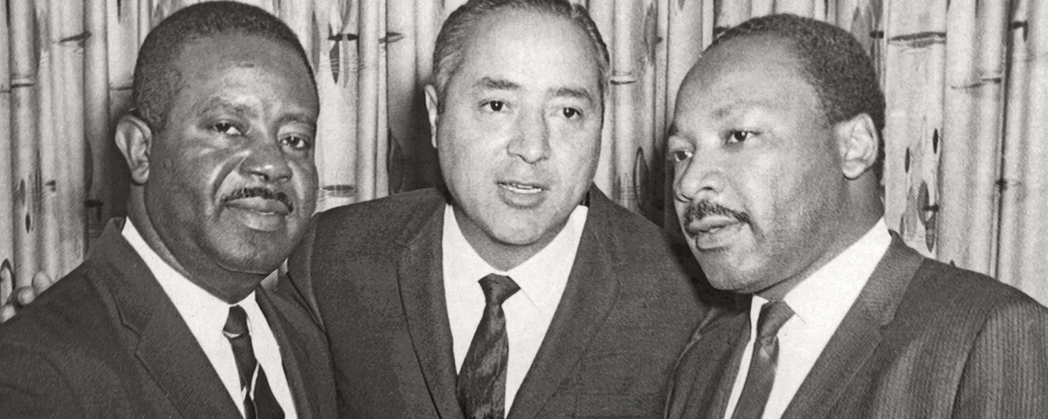 Merle McCurdy (center) pictured with Civil Right leaders Charles Abernathy and Dr. Martin Luther King, Jr.