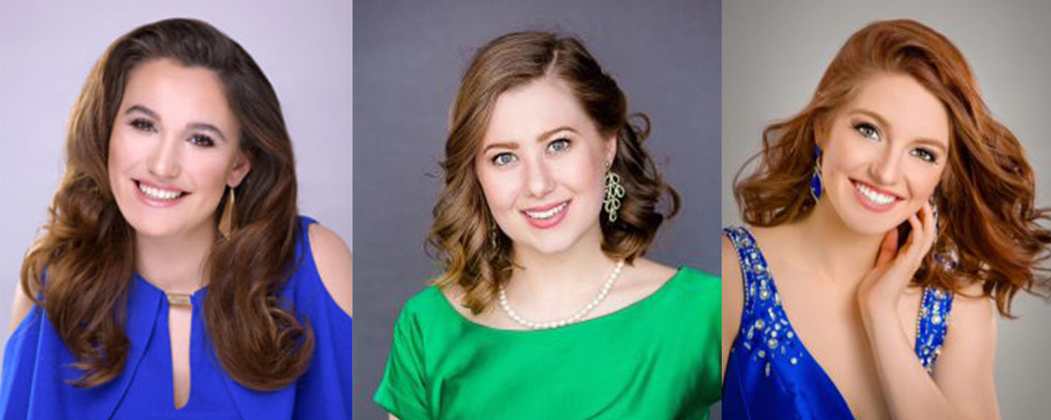 Kent State students Miss Oxford (left), Miss Akron Canton (center) and Miss South Central (right) competed in the 2019 Miss Ohio Pageant.