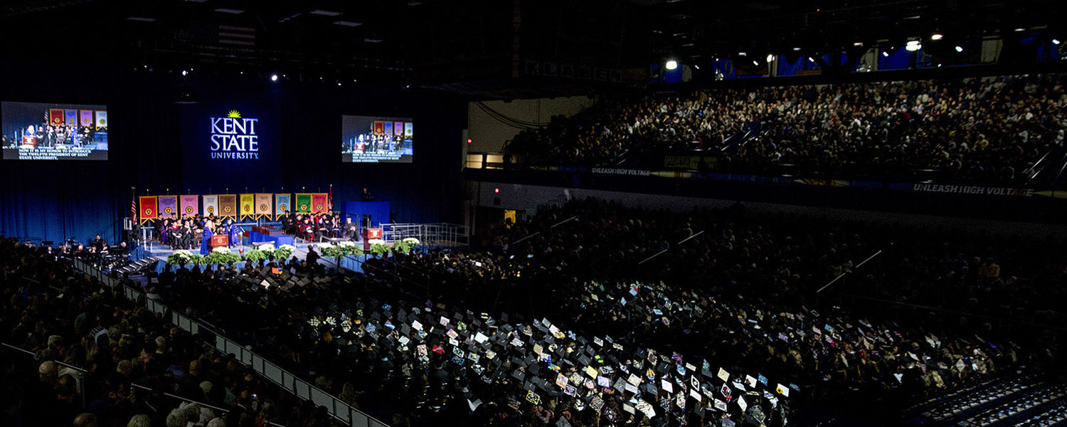 Pictured is an overall view of Kent State's morning Commencement ceremony for fall 2017.