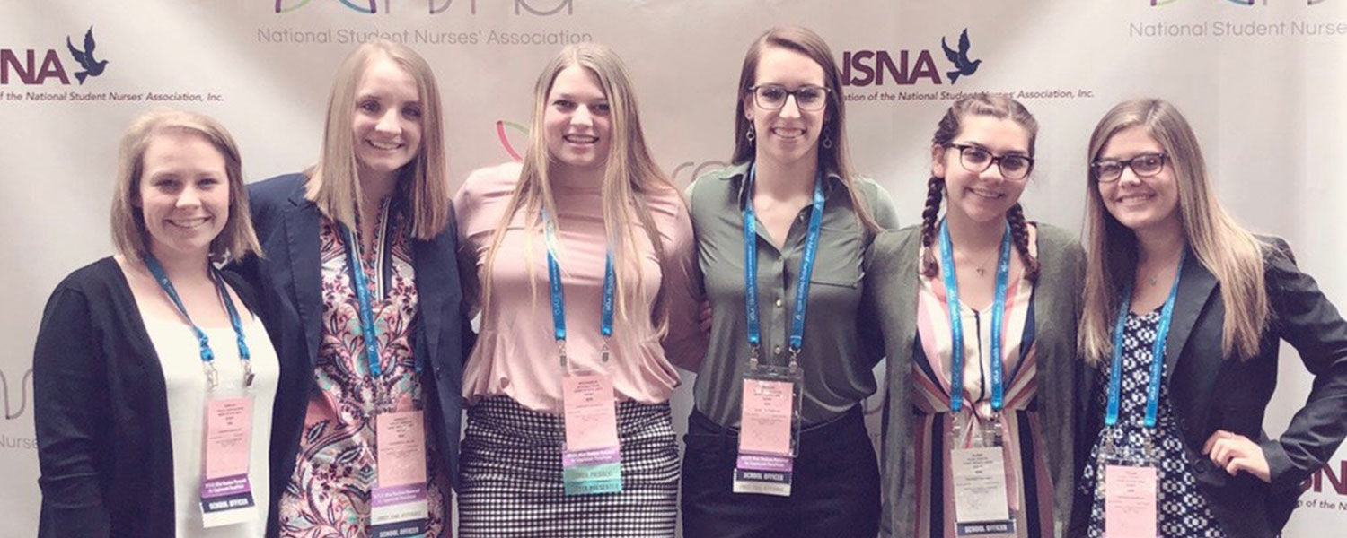 (From left) Shelby Worthington, Ashley Harayda, Michaela Bann, Megan Pietrusinski, Elise Cowles, and Tyler courtright attended the 2019 NSNA convention in Salt Lake City, Utah.