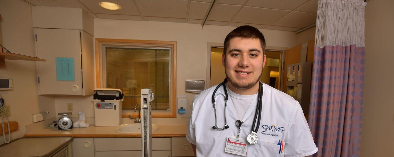 Kent State University student nurse Adam Roman of Garrettsville