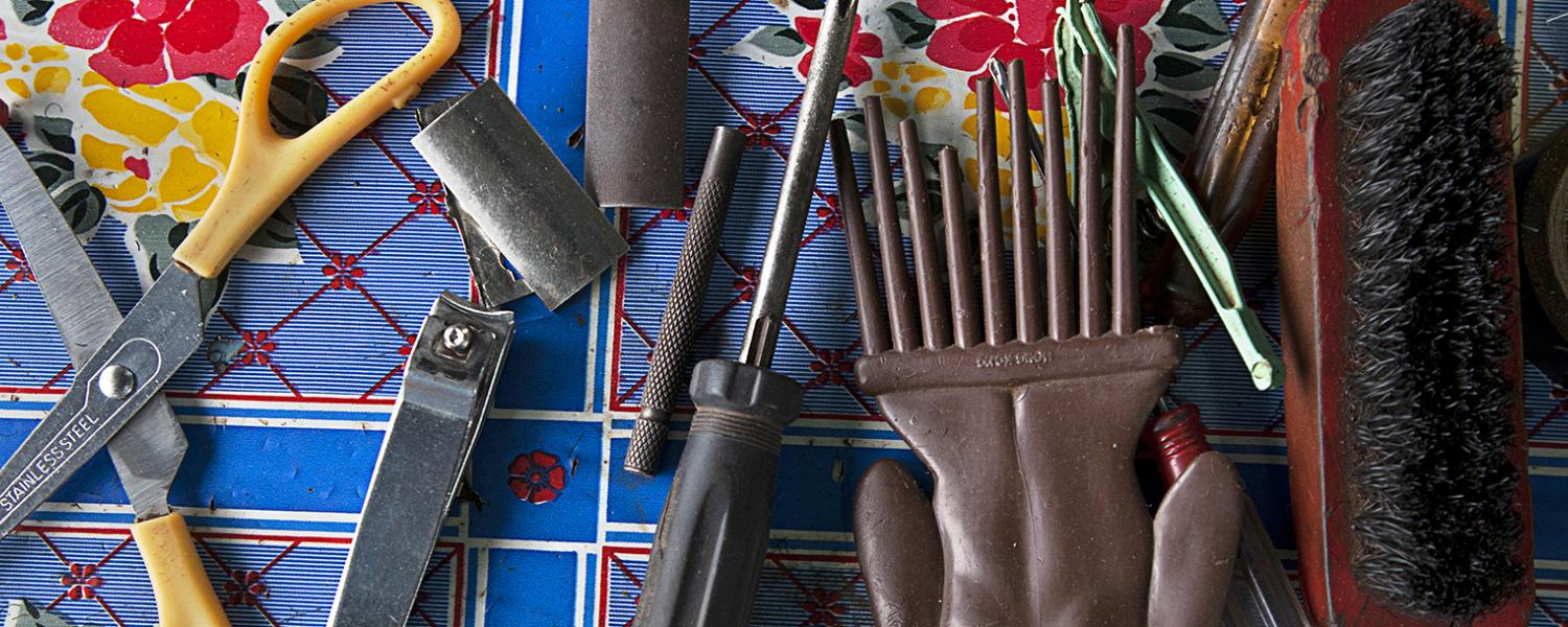 Andrew Esiebo's Nuance Mali from the Pride series, 2012 featuring a collage of barber and stylist tools.