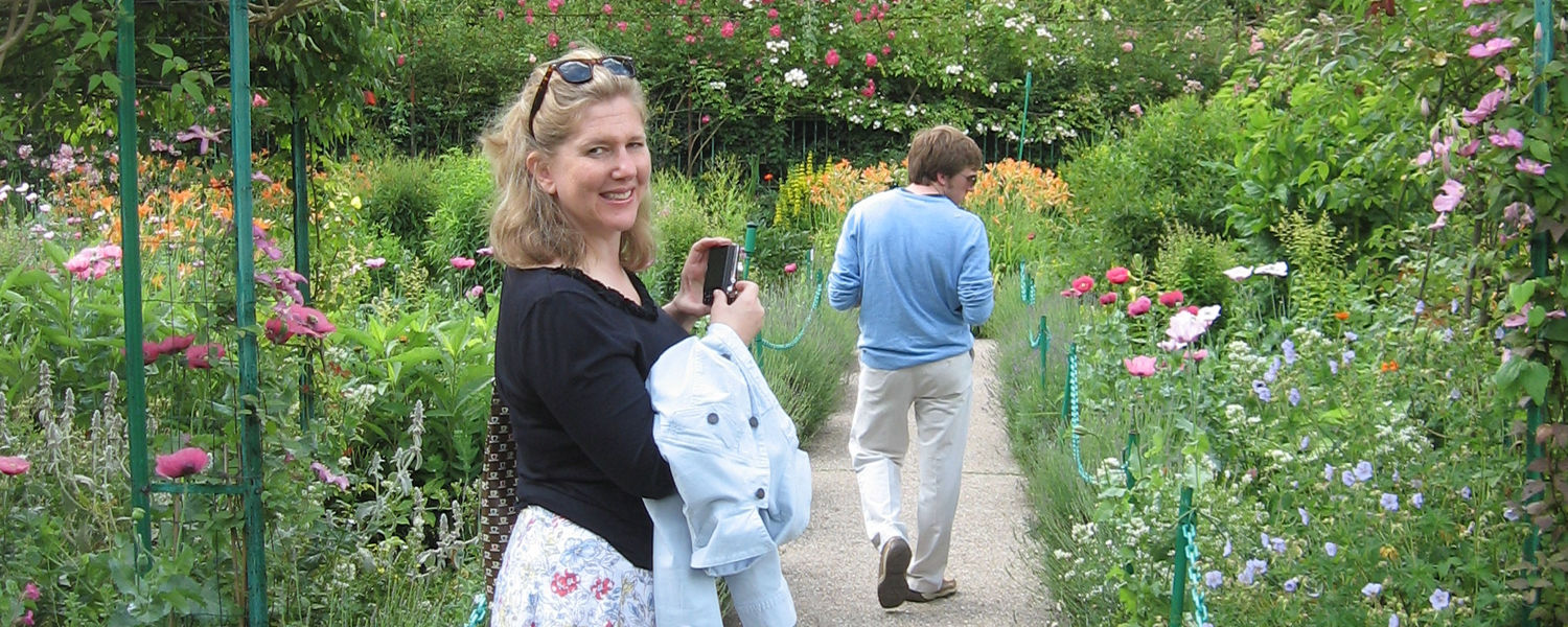 Carol P. Kropp in garden in Paris