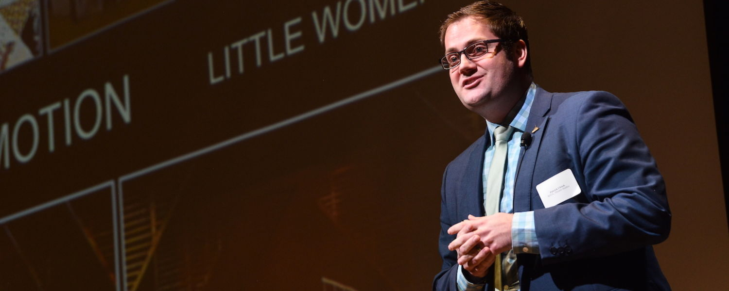 Patrick Ulrich presents at Three Minute Thesis in 2017
