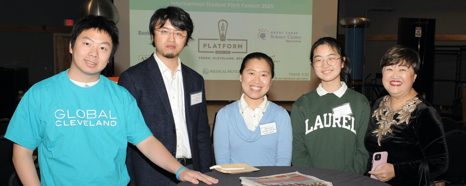 Some of the students from the 2021 Global Cleveland International Student Pitch Contest.