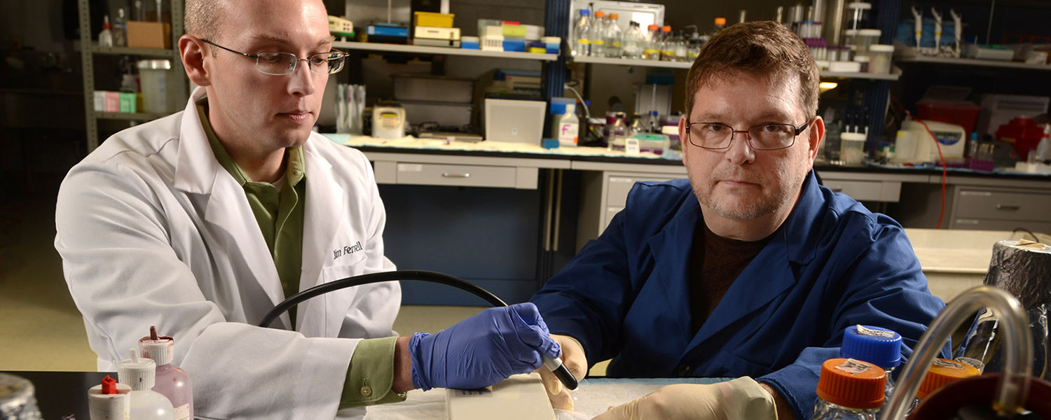 Kent State graduate student James Ferrell and Christopher Woolverton, Ph.D., professor of environmental health sciences, perform research in a lab at DeWeese Health Center.