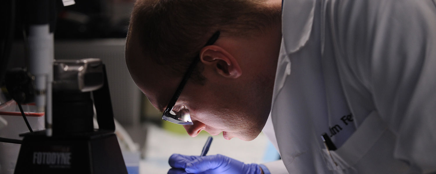 A Kent State graduate student works in a lab.
