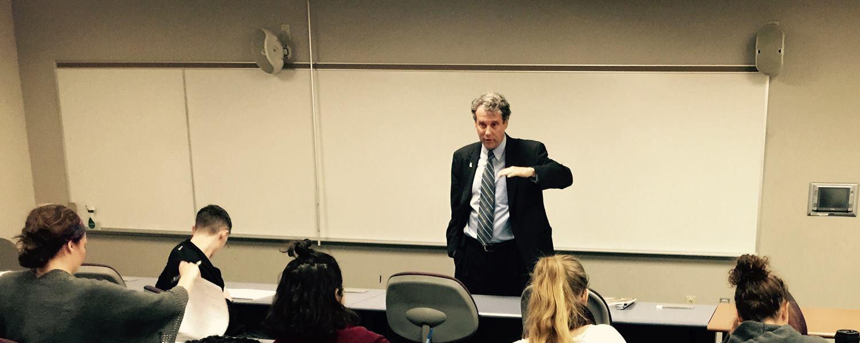 U.S. Sen. Sherrod Brown visited JMC's Writing Across Platforms course