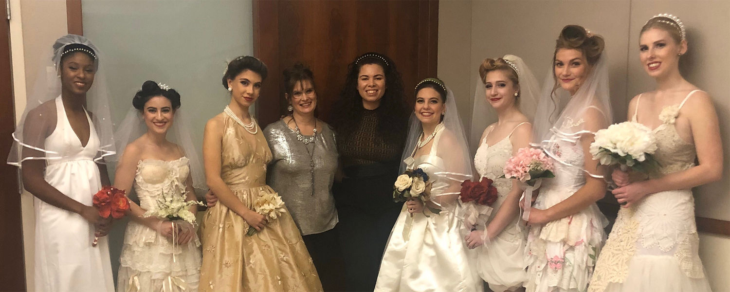 Terry (fifth from left) pictured with models and fashion lecturer Trista Grieder (pictured fourth)  at a fashion show last fall where she debuted her bridal headband collection.