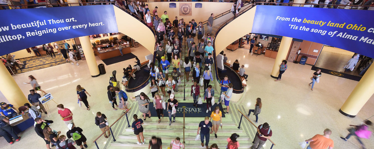 Prospective students and their families walk through the Kent Student Center.