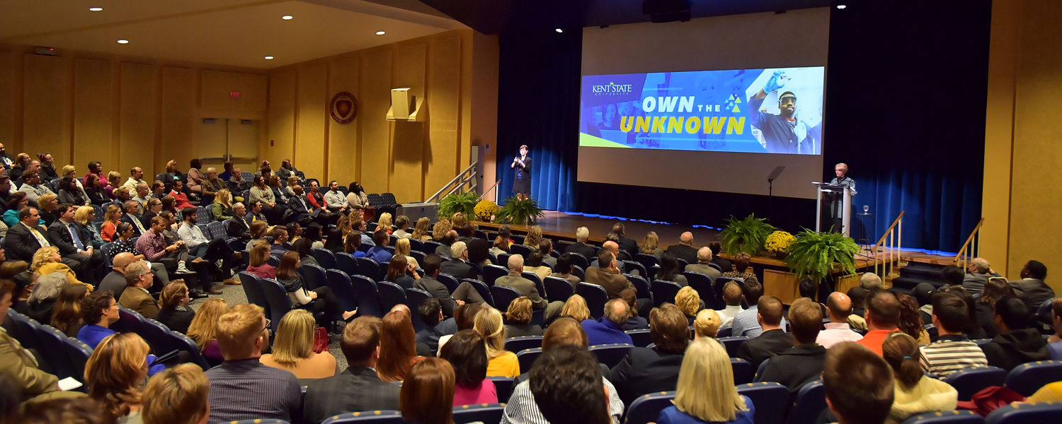 A full house greets Kent State President Beverly Warren for her State of the University address.