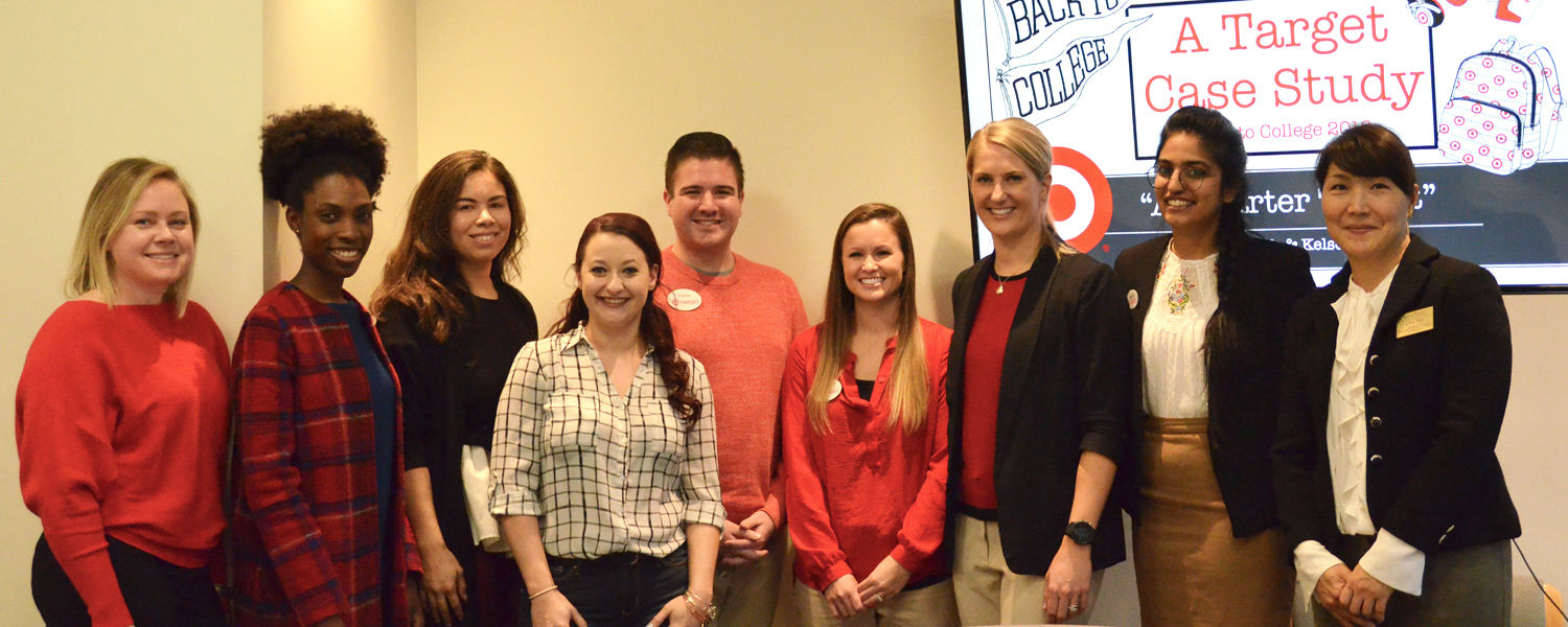 Fashion graduate students posing with Target representatives and Dr. Jihyun Kim during the Graduate Target Case Study